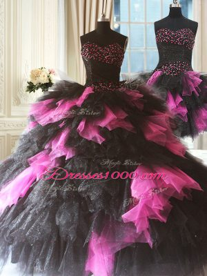 Admirable Three Pieces 15 Quinceanera Dress Pink And Black Sweetheart Tulle Sleeveless Floor Length Lace Up