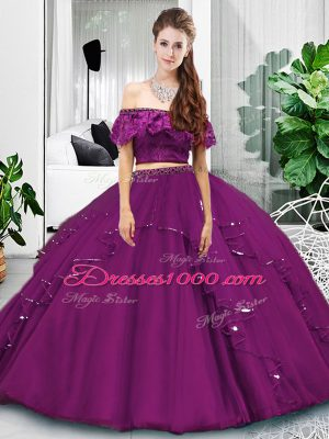 Free and Easy Eggplant Purple Off The Shoulder Neckline Lace and Ruffles Quinceanera Gown Sleeveless Lace Up
