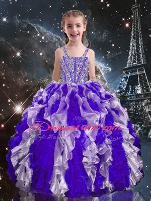 Straps Sleeveless Lace Up Little Girls Pageant Dress Wholesale Purple Organza