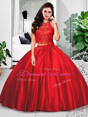 Custom Designed Taffeta Halter Top Sleeveless Zipper Lace and Ruching Quinceanera Dress in Wine Red