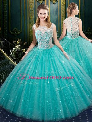 Aqua Blue Ball Gowns Tulle High-neck Sleeveless Lace Floor Length Zipper 15th Birthday Dress