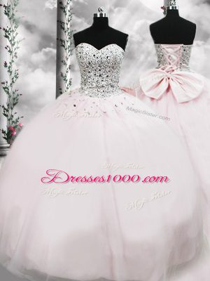 Pink Sleeveless Tulle Brush Train Lace Up Sweet 16 Dress for Military Ball and Sweet 16 and Quinceanera