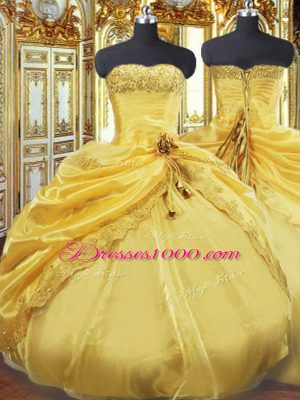 Taffeta Strapless Sleeveless Lace Up Beading and Pick Ups Sweet 16 Quinceanera Dress in Gold