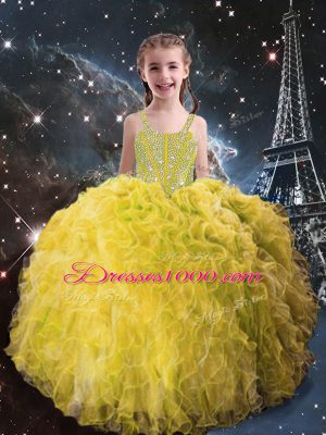 Floor Length Lace Up Little Girl Pageant Gowns Light Yellow for Quinceanera and Wedding Party with Beading and Ruffles