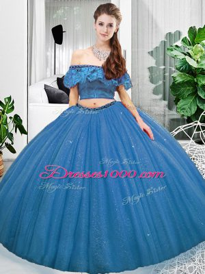 Adorable Two Pieces Quinceanera Gown Blue Off The Shoulder Organza Sleeveless Floor Length Lace Up