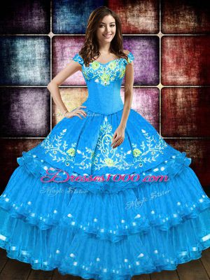 Floor Length Ball Gowns Sleeveless Baby Blue 15 Quinceanera Dress Lace Up