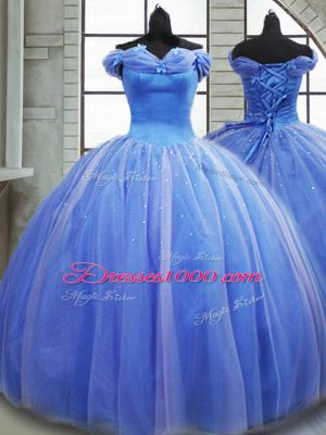High End Off The Shoulder Sleeveless Quinceanera Dress Brush Train Pick Ups Light Blue Tulle