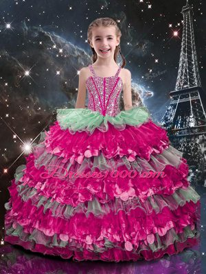 On Sale Multi-color Lace Up Straps Beading and Ruffled Layers Pageant Gowns For Girls Organza Sleeveless