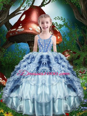 Cheap Baby Blue Sleeveless Organza Lace Up Little Girls Pageant Dress for Quinceanera and Wedding Party