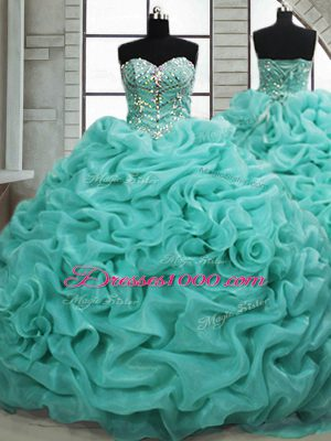 Turquoise Ball Gowns Sweetheart Sleeveless Organza Brush Train Lace Up Beading and Pick Ups 15th Birthday Dress