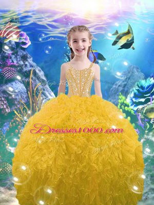 Straps Sleeveless Lace Up Child Pageant Dress Gold Organza