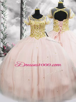 Beautiful Beading 15th Birthday Dress Pink Lace Up Short Sleeves Floor Length