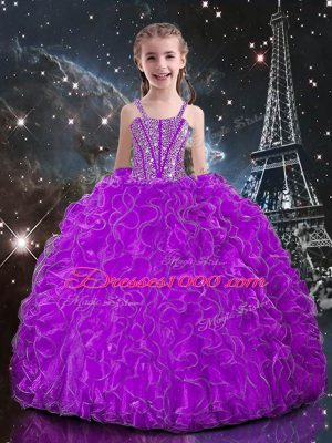 Sleeveless Floor Length Beading and Ruffles Lace Up Pageant Gowns For Girls with Eggplant Purple