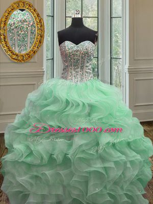 Customized Organza Sleeveless Floor Length Quinceanera Dress and Ruffles