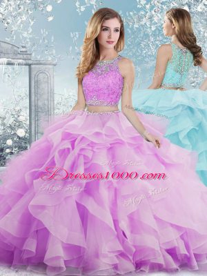 Lilac Ball Gowns Beading and Ruffles Vestidos de Quinceanera Clasp Handle Organza Sleeveless Floor Length