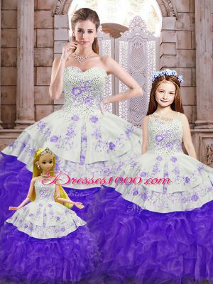 Charming White And Purple Sleeveless Organza Lace Up Vestidos de Quinceanera for Military Ball and Sweet 16 and Quinceanera