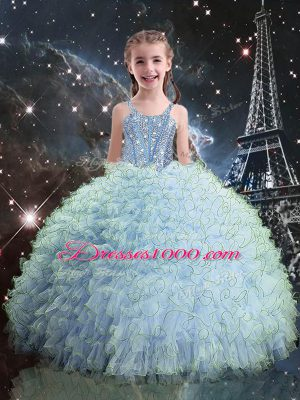 Light Blue Sleeveless Organza Lace Up Little Girl Pageant Dress for Quinceanera and Wedding Party