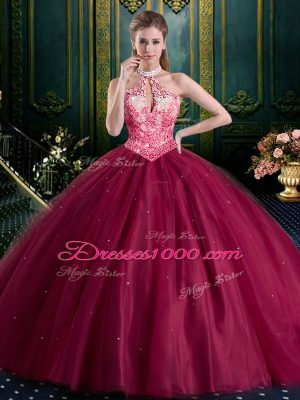Halter Top Beading and Lace and Appliques Quince Ball Gowns Burgundy Lace Up Sleeveless Floor Length