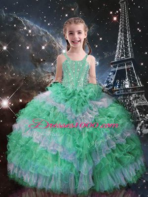 Glorious Apple Green Sleeveless Organza Lace Up Little Girl Pageant Dress for Quinceanera and Wedding Party