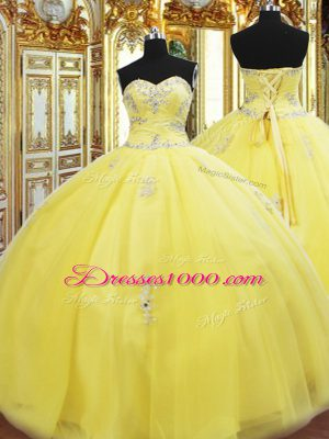 Shining Gold Lace Up Sweetheart Beading and Appliques Quinceanera Dresses Tulle Sleeveless