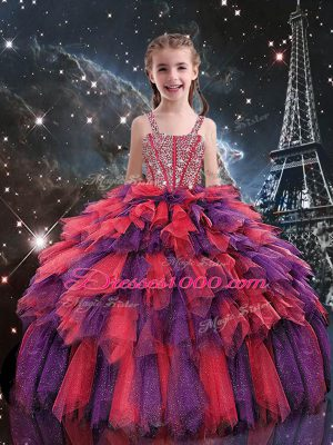 Graceful Coral Red Ball Gowns Straps Sleeveless Tulle Floor Length Lace Up Beading and Ruffles Child Pageant Dress