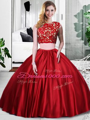 Fashionable Scoop Sleeveless Sweet 16 Dresses Floor Length Lace and Ruching Wine Red Taffeta