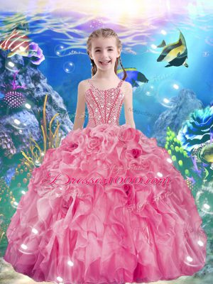Pretty Sleeveless Organza Floor Length Lace Up Little Girl Pageant Gowns in Rose Pink with Beading and Ruffles