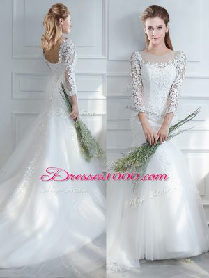Glorious Lace Up Bridal Gown White for Wedding Party with Lace Court Train