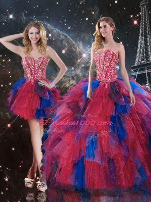 Sexy Floor Length Lace Up Sweet 16 Dresses Multi-color for Military Ball and Sweet 16 and Quinceanera with Beading and Ruffles