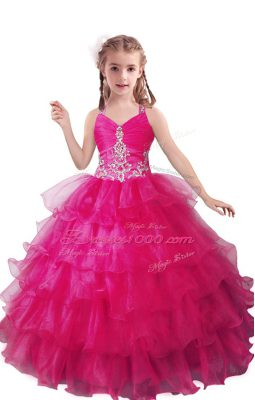Sweet Ball Gowns Little Girls Pageant Gowns Fuchsia V-neck Organza Sleeveless Floor Length Zipper