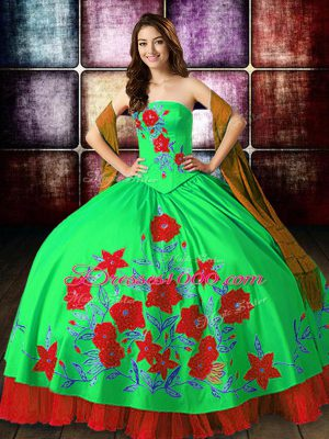 Perfect Multi-color Ball Gowns Strapless Sleeveless Satin Floor Length Lace Up Embroidery Quince Ball Gowns
