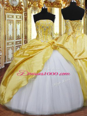 Designer Gold Sleeveless Floor Length Beading and Hand Made Flower Lace Up 15 Quinceanera Dress