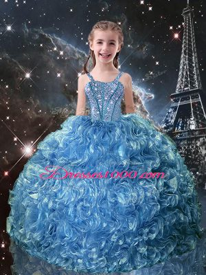 Best Floor Length Lace Up Little Girls Pageant Dress Wholesale Baby Blue for Quinceanera and Wedding Party with Beading and Ruffles