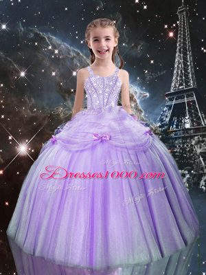 Floor Length Ball Gowns Sleeveless Lilac Kids Formal Wear Lace Up