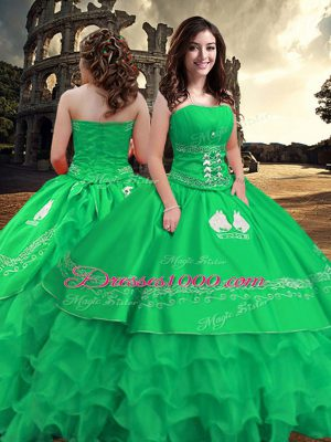 Clearance Sleeveless Zipper Floor Length Embroidery and Ruffled Layers Sweet 16 Dress