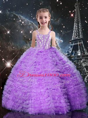 Dazzling Floor Length Lace Up Little Girls Pageant Gowns Eggplant Purple for Quinceanera and Wedding Party with Beading and Ruffles and Ruffled Layers
