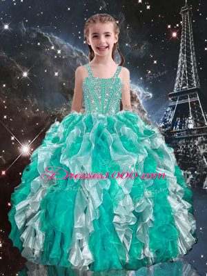 Turquoise Straps Lace Up Beading and Ruffles Kids Formal Wear Sleeveless