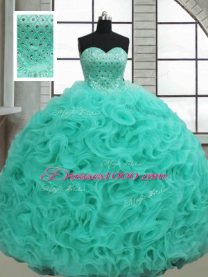 Sleeveless Fabric With Rolling Flowers Brush Train Lace Up Vestidos de Quinceanera in Turquoise with Beading