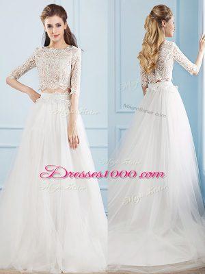 White Scoop Neckline Lace Wedding Dress Half Sleeves Zipper
