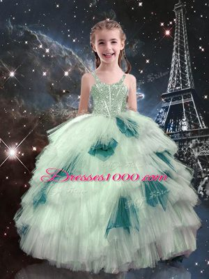Customized White Child Pageant Dress Quinceanera and Wedding Party with Beading and Ruffled Layers Straps Sleeveless Lace Up