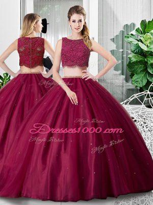 Fantastic Lace and Ruching Sweet 16 Dress Fuchsia Zipper Sleeveless Floor Length