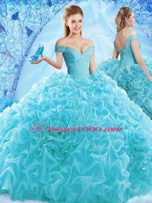 Luxurious Aqua Blue Ball Gowns Off The Shoulder Cap Sleeves Organza Brush Train Lace Up Ruffles and Pick Ups Quinceanera Gown