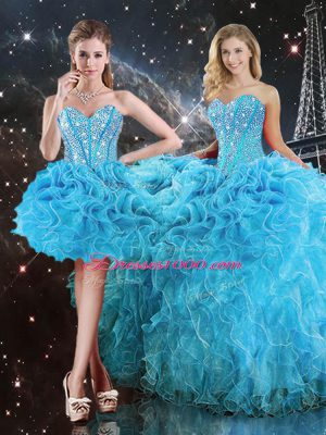 Custom Made Sleeveless Floor Length Beading and Ruffles Lace Up Quince Ball Gowns with Aqua Blue