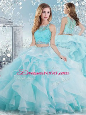 Dynamic Scoop Sleeveless 15th Birthday Dress Floor Length Beading and Ruffles Aqua Blue Organza