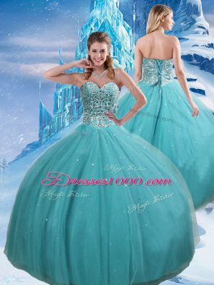 Affordable Aqua Blue Tulle Lace Up Sweetheart Sleeveless Floor Length Quinceanera Gown Beading and Sequins