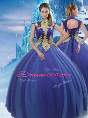 Excellent Royal Blue Ball Gowns Appliques Ball Gown Prom Dress Lace Up Tulle Sleeveless Floor Length