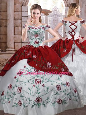 White And Red Ball Gowns Embroidery and Ruffled Layers Quinceanera Dresses Lace Up Taffeta Sleeveless Floor Length