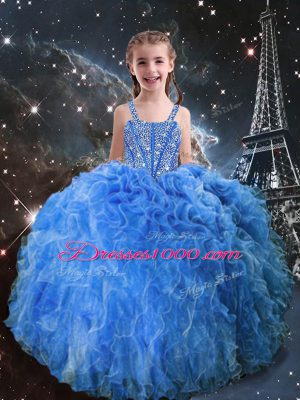 Straps Sleeveless Pageant Gowns For Girls Floor Length Beading and Ruffles Baby Blue Organza