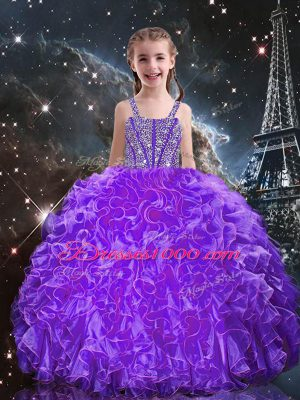 Eggplant Purple Organza Lace Up Little Girl Pageant Dress Sleeveless Floor Length Beading and Ruffles