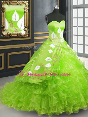 Lace Up 15th Birthday Dress for Military Ball and Sweet 16 and Quinceanera with Embroidery Brush Train